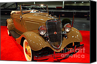 Deluxe Canvas Prints - 1934 Ford Model 40 Deluxe Cabriolet Canvas Print by Wingsdomain Art and Photography