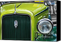 Kaye Menner Car Canvas Prints - 1934 Plymouth - Badge Grill Hood Ornament Canvas Print by Kaye Menner
