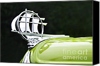 Kaye Menner Car Canvas Prints - 1934 Plymouth - Hood Ornament Canvas Print by Kaye Menner