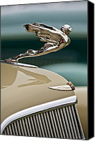 Automotive Photography Canvas Prints - 1935 Cadillac Convertible Hood Ornament Canvas Print by Jill Reger