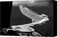 Antique Automobiles Canvas Prints - 1935 Chevrolet Hood Ornament 4 Canvas Print by Jill Reger