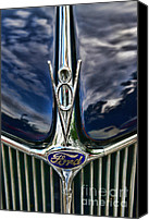 Blue Ford Canvas Prints - 1936 Ford Phaeton Hood Ornament Canvas Print by Paul Ward