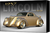 Ford Digital Art Canvas Prints - 1937 Lincoln Zephyr Canvas Print by Mike McGlothlen