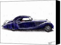 Dan Drawings Canvas Prints - 1938 Horch 853a Canvas Print by Dan Poll