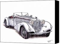 Dan Drawings Canvas Prints - 1938 Horch 855 Canvas Print by Dan Poll