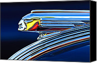Classic Car Canvas Prints - 1939 Pontiac Silver Streak Chief Hood Ornament 3 Canvas Print by Jill Reger