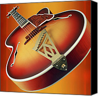 Guitar Canvas Prints - 1940s D Angelico New Yorker Cuitar Canvas Print by Garry McMichael