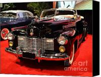Convertibles Canvas Prints - 1941 Cadillac Series 62 Convertible Coupe . Front Angle Canvas Print by Wingsdomain Art and Photography