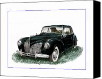 Framed  Of Lincoln Continentals. Framed  Of Art Of Famous Lincoln Cars. Framed  Of Lincoln Car Art. Framed  Of Great American Classic Cars Canvas Prints - 1941 Lincoln Continental MK 1 Canvas Print by Jack Pumphrey