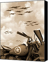 Bike Canvas Prints - 1942 Indian 841 - B-17s Canvas Print by Mike McGlothlen