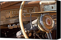 Victoria Canvas Prints - 1942 Packard Darrin Convertible Victoria Steering Wheel Canvas Print by Jill Reger