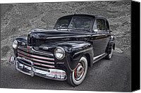 Blue Ford Canvas Prints - 1946 Ford Canvas Print by Debra and Dave Vanderlaan
