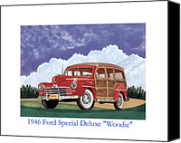 Country Drawings Canvas Prints - 1946 Ford WOODY Canvas Print by Jack Pumphrey