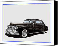 Framed  Of Lincoln Continentals. Framed  Of Art Of Famous Lincoln Cars. Framed  Of Lincoln Car Art. Framed  Of Great American Classic Cars Canvas Prints - 1946 Lincoln Continental MK 1 Canvas Print by Jack Pumphrey