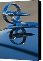 Blue Buick Canvas Prints - 1947 Buick Roadmaster Hood Ornament Canvas Print by Jill Reger