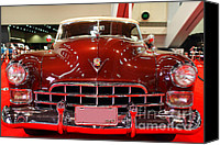 American Car Photography Canvas Prints - 1947 Red Cadillac Convertible . 7D9224 Canvas Print by Wingsdomain Art and Photography