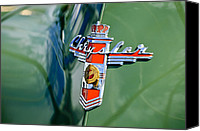 Country Photographs Canvas Prints - 1948 Chrysler Town and Country Convertible Emblem Canvas Print by Jill Reger