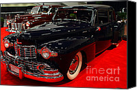 Transportation Tapestries Textiles Canvas Prints - 1948 Lincoln Continental Coupe . Deep Blue . 7D9256 Canvas Print by Wingsdomain Art and Photography