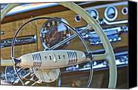1949 Canvas Prints - 1949 Hudson Commodore 6 Convertible Steering Wheel Canvas Print by Jill Reger
