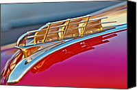 1949 Plymouth Canvas Prints - 1949 Plymouth Hood Ornament Canvas Print by Jill Reger