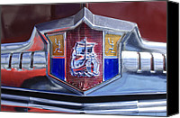 1949 Canvas Prints - 1949 Plymouth P-18 Special Deluxe Convertible Emblem Canvas Print by Jill Reger