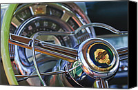 Chrysler Canvas Prints - 1950 Chrysler New Yorker Coupe Steering Wheel Emblem Canvas Print by Jill Reger