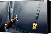 Automotive Photography Canvas Prints - 1950 Ferrari Hood Emblem Canvas Print by Jill Reger
