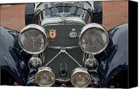 Roadster Canvas Prints - 1950 Jaguar XK120 Roadster Grille Canvas Print by Jill Reger