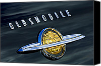 Oldsmobile Canvas Prints - 1950 Oldsmobile 88 Emblem Canvas Print by Jill Reger