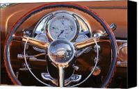 Oldsmobile Canvas Prints - 1950 Oldsmobile Rocket 88 Steering Wheel 2 Canvas Print by Jill Reger