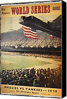 World Series Digital Art Canvas Prints - 1950 Phillies vs Yankees World Series Guide Canvas Print by Bill Cannon