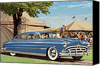 Airbrush Art Digital Art Canvas Prints - 1951 Hudson Hornet fair americana antique car auto nostalgic rural country scene landscape painting Canvas Print by Walt Curlee