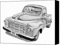 Storm Drawings Canvas Prints - 1951 Studebaker Pickup Truck Canvas Print by Daniel Storm