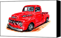 Custom Framed Art Canvas Prints - 1952 Ford F-100 Pick Up Canvas Print by Jack Pumphrey