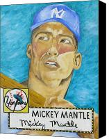 Joseph Palotas Canvas Prints - 1952 Mickey Mantle Rookie Card Original Painting Canvas Print by Joseph Palotas
