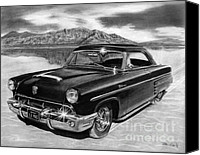 Transportation Canvas Prints - 1953 Mercury Monterey on Bonneville Canvas Print by Peter Piatt