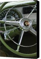 Vehicles Canvas Prints - 1953 Pontiac Steering Wheel Canvas Print by Jill Reger