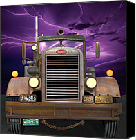 Truck Canvas Prints - 1955 Peterbilt Canvas Print by Stuart Swartz