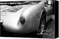 Transportation Tapestries Textiles Canvas Prints - 1955 Porsche 550 RS Spyder . Black and White Photograph . 7D9453 Canvas Print by Wingsdomain Art and Photography