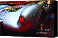 Silver Canvas Prints - 1955 Porsche 550 RS Spyder . Painterly Style Canvas Print by Wingsdomain Art and Photography