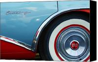 Blue Buick Canvas Prints - 1956 Buick Century Wheel Canvas Print by Jill Reger