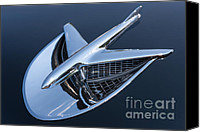Blue Buick Canvas Prints - 1956 Buick Special Hood Ornament Canvas Print by Clarence Holmes