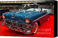 Transportation Tapestries Textiles Canvas Prints - 1956 Chevrolet Bel-Air Convertible . Blue . 7D9248 Canvas Print by Wingsdomain Art and Photography