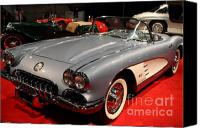 Transportation Tapestries Textiles Canvas Prints - 1956 Chevy Corvette Convertible . Front Angle Canvas Print by Wingsdomain Art and Photography