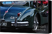 Kaye Menner Car Canvas Prints - 1956 Jaguar XK 140 - Rear and Emblem Canvas Print by Kaye Menner