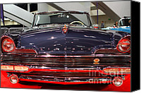 Convertibles Canvas Prints - 1956 Lincoln Premiere Convertible . Blue . 7D9245 Canvas Print by Wingsdomain Art and Photography