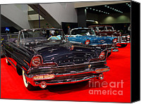 American Car Photography Canvas Prints - 1956 Lincoln Premiere Convertible . Blue . 7D9244 Canvas Print by Wingsdomain Art and Photography