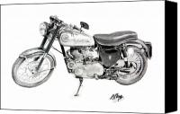 Bsa Canvas Prints - 1957 BSA Motorcycle Canvas Print by Terence John Cleary