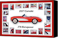Red Car Canvas Prints - 1957 Chevrolet Corvette Art Canvas Print by Jill Reger