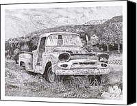 Old Trucks Canvas Prints - 1957 Gmc Ran When Parked Canvas Print by Jack Pumphrey